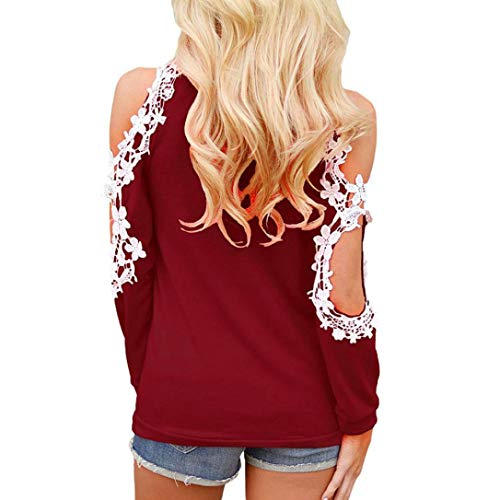Longues Rouge Chic Solike Col paule Shirts Fleur Blouse Chemise Shirt 2XL Ouverte Manches Tops Rond Dentelle Pullover Femme a S T 7wEHtw