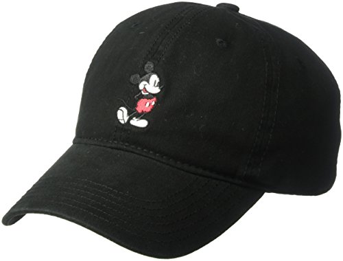 (Disney Men's Mickey Washed Twill Baseball Cap, Adjustable, Black Full, One)