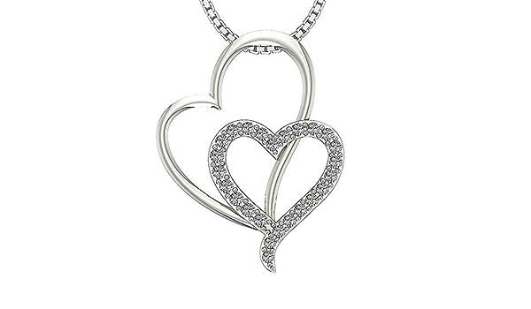 0.20 Ct Round Cut Simulated Diamond Heart Pendant 10K White Gold W// 18Chain .925 Silver