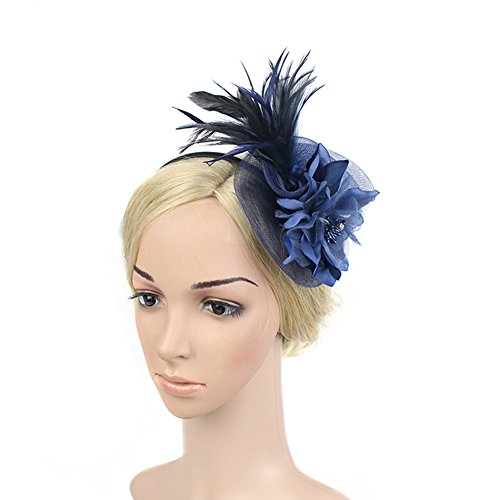 SZTARA Netting Feathers Big Flower Headband Party Girls Women Fascinator Headwear Cocktail Hat Head Decoration Ming -