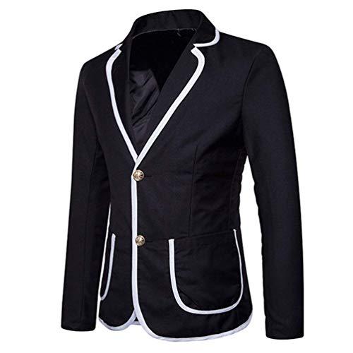 Retro Hommes Chic Ajustée Schwarz De Blazer Pour Couleur Costume Style Veste Élégante Contrastant Contrastée nEwYPxqXX