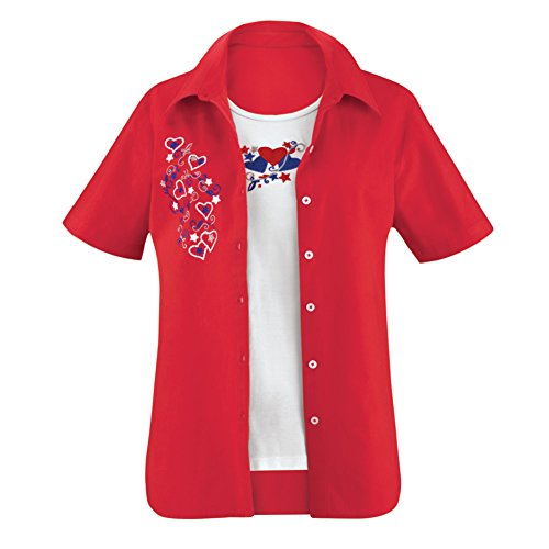 Womens Patriotic Americana Short Sleeve Hearts and Stars Button Down Collar Woven Top