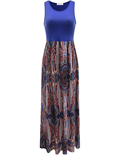 Aphratti Women's Bohemian Sleeveless Maxi Long Dress with Elastic Waistband XX-Large Blue Print