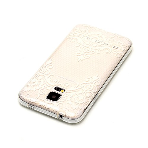 Funda Samsung Galaxy S5,Wanxideng Carcasa de TPU Silicona Funda Ultra-Delgado Suave Carcasa Transparente Cristal con Elegante Diseño - Lindo Unicornio Flores Floreciendo