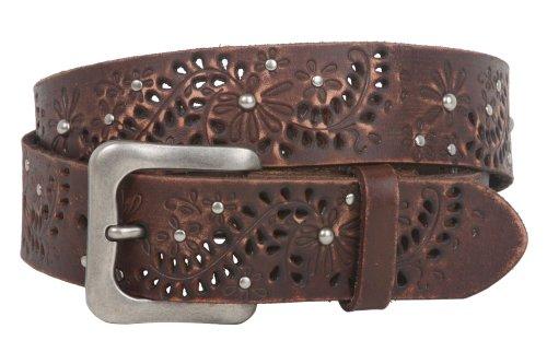 Snap On Vintage Cowhide Full Grain Leather Floral Rivet Perforated Casual Belt, Brown   40
