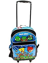 Full Size Blue Angry Birds Rolling Backpack - Angry Birds Luggage with Wheels