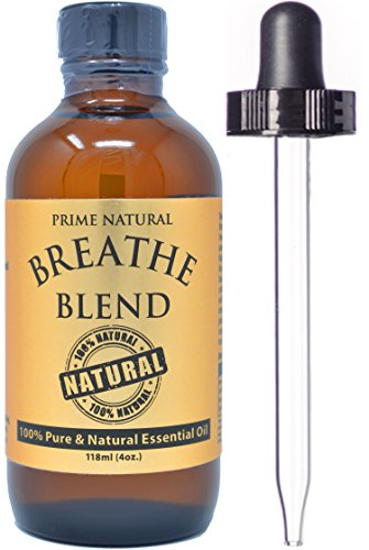 Breathe Essential Oil Blend 4oz/118ml - 100% Pure Undiluted Therapeutic Grade for Aromatherapy, Scents & Diffuser - Sinus Relief, Allergy, Congestion, Cold, Cough, Headache, Respiratory Problems