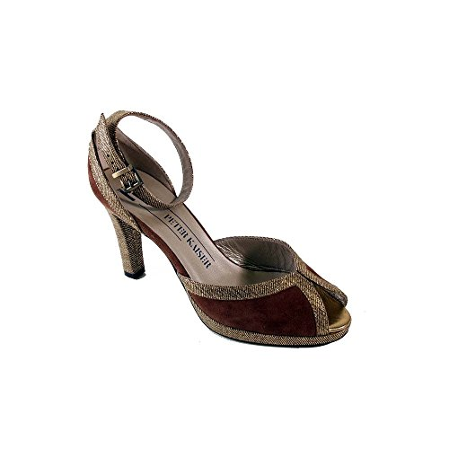 Peter Kaiser Gold/brown Suede Ankle Strap Gold Multi