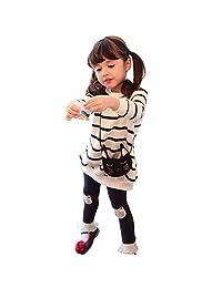 ASTV Toddler Baby Girl Clothing 2pcs Outfits Stripe Cat T Shirt Tops+Leggings Set
