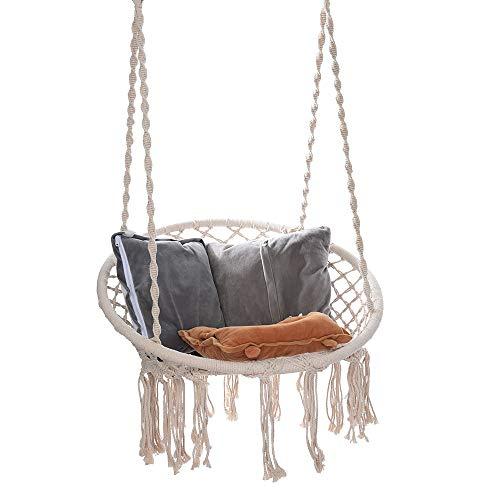 Ecosin Hanging Cotton Rope Macrame Hammock Chair Macrame Swing, Hammock Chair for Outdoor Home, Patio, Porch, Deck, Yard, Garden (White)