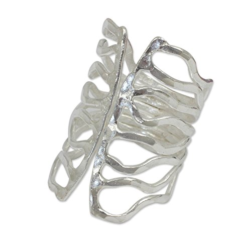 NOVICA .925 Sterling Silver Cutout Hammered Wrap Ring, Monarch' Cut Out Butterfly Ring