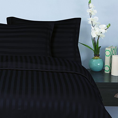 Elegant Comfort Wrinkle & Fade Resistant 1500 Thread Count - Damask Stripes Egyptian Quality Luxurious Silky Soft 3pc Duvet Cover Set, Full/Queen, Black ()