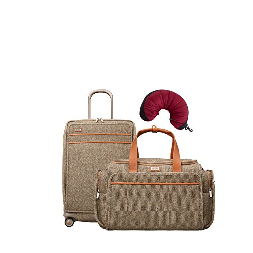 Hartmann Tweed Legend | 3-Piece Set | Travel Duffel & Medium Journey Expandable Spinner, Travel Pillow (Natural (Tweed Duffle)