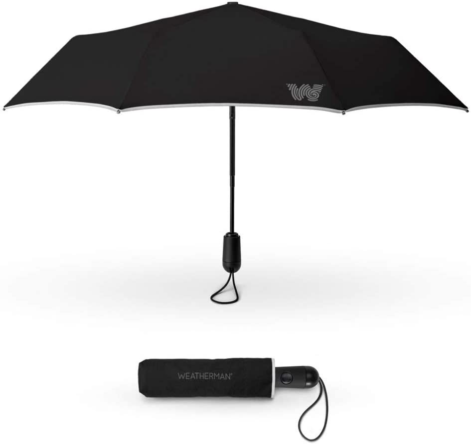 The Weatherman Travel Umbrella | Windproof Compact Umbrella | Extremely Durable Umbrella Built to Withstand High Winds | Available in 2 Colors (Black)