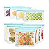 [10 Pack] Reusable Sandwich & Snacks Bags,Wattne Reusable Ziplock Storage Bags Freezer Safe, Extra Thick PEVA Material BPA/Plastic Free Bags for Lunch, Snacks, Toiletries, Make-up