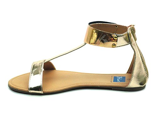 Blue Nikita Womens Ankle Plated Strap Back Zip Open Toe Sandals Gold/Gold- 5aU2V606