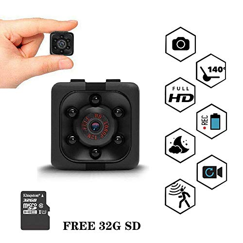 Mini Spy Camera 1080P Wireless Hidden Camera Full HD Portable Small Cam, with 32G SD Card, with Motion Detection and Night Vision Functions, Suitable for Babysitter/Housekeeper Surveillance Cameras