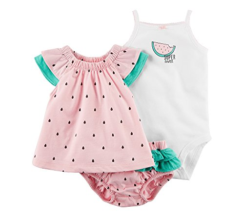 Carter's Baby Girls' 3 Piece Watermelon Bodysuit and Diaper Cover Set 24 Months