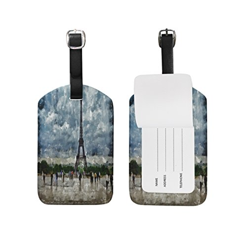 Set of 2 Eiffel Tower Paris Watercolor Trunk Baggage Luggage Labels ID Handbag - Water Address Tower