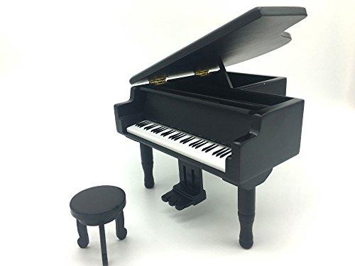 Cimostar Wooden Music Box,Creative Piano Design (Black)