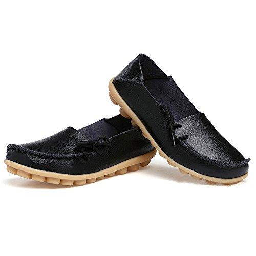 Lederne Müßiggänger-Schuhe der Amaxuan-Frauen wilde fahrende zufällige Ebenen Schwarz