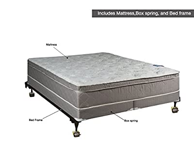 "Spinal Solution Luxury Collection Fully Assembled Orthopedic 10"" Pillowtop Eurotop Mattress & 4"" Split Box Spring with Frame, Queen"