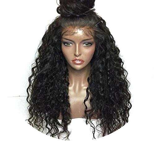 Loose Curly Lace Front Wig Heat Resistant Half Hand Tied Front With Baby Hair Women,20inches]()