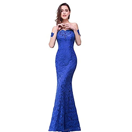 Off Shoulder Lace Long Bridesmaid Maxi Mermaid Prom Dress For Wedding CPS199 Royal Blue 8