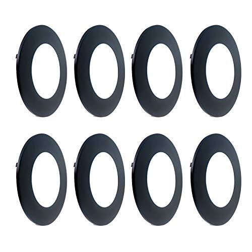 JULLISON Exchangeable Bazel, Ultra-Thin Face Plate, Slim Ring 4 Inch LED Slim Panel Light, Decorative Exterior Trim, 8 Packs, Black