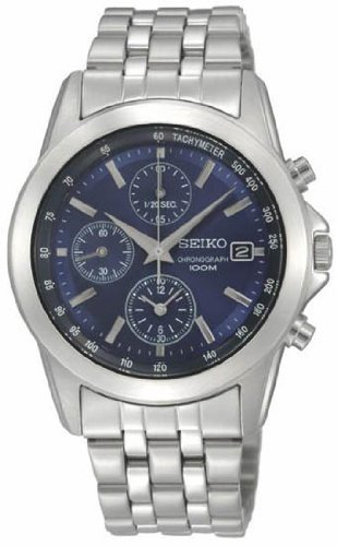 Seiko Stainless Steel Blue Dial Chronograph Mens Watch SNDC07