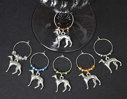Greyhound-Dog-Wine Glass Charms-Set of 6