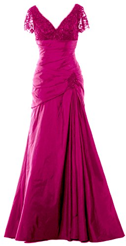 Mother Neck Of Cap V Macloth Evening Long Dress Sleeves Fuchsia Women Gown Lace Bride