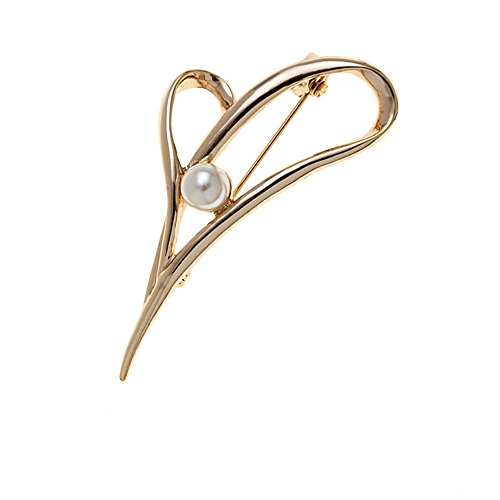 SENFAI 10K Gold Plated Heart Leaf Simulated Pearl Brooch Pins (Gold)