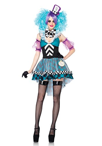 Leg Avenue Women's 4 Piece Manic Mad Hatter Costume, Black/Light Blue, Small (Sexy Mad Hatter Costumes)