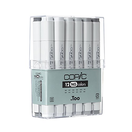 Copic Marker CNG12 12-Piece Neutral Gray Set (Copic Markers 12 Piece Neutral Gray Set)