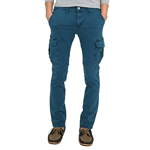 myglory77mall Mens Vintage Cargo Pocket Faded Slim Fit Skinny Jeans Pants Trousers Blue ()