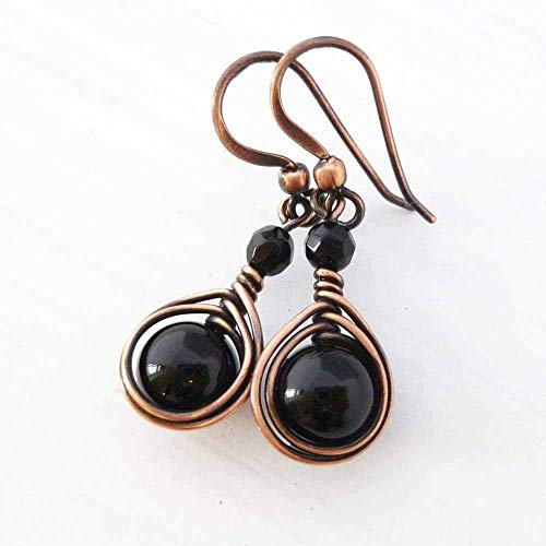 Copper Wire Wrapped Earrings with Black Onyx Gemstone