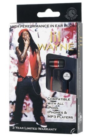 Section8 RBW4928 Lil Wayne In-Ear Buds - Window Box - Red/Black