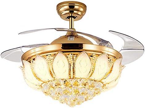 Ventiladores de techo Moderno de Lujo luz de Cristal Plegable ...