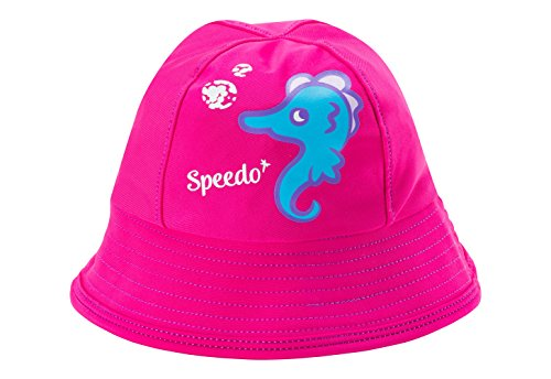 Speedo Kids UPF 50+ Bucket Hat with Chin Strap, Berry, Small/Medium