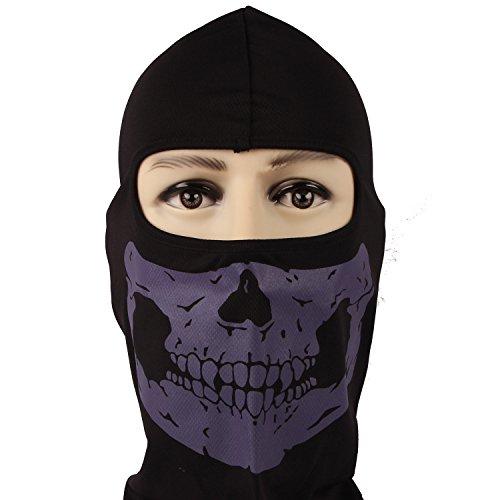 Rioriva Bandana Novel Skull Bike Motorcycle Helmet Neck Face Mask Paintball Ski Headband (Skull-purple),One Size,BC-05