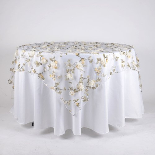 BBCrafts 72 Inch X 72 Inch Organza with Roses Print Tablecloth Overlay (Ivory) (Table Organza Overlay)
