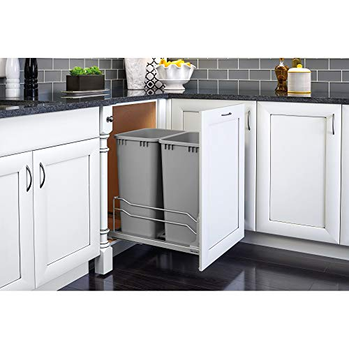 Rev-A-Shelf 53WC-2150SCDM-217 Double 50 Quart Undermount Kitchen Cabinet Pullout Waste Container, Gray