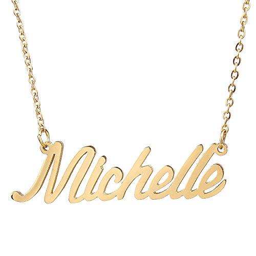 AOLO Gold Plated Anniversary Gold Name Necklaces Gift Michelle