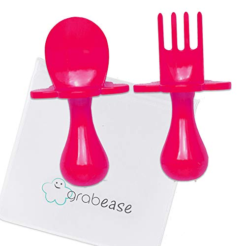 GRABEASE First Training Self Feed Baby Utensils - Anti-Choke, BPA-Free Baby Spoon and Fork Toddler Utensils with Pouch Set - Toddler Silverware for Baby Led Weaning Ages 6 Months+, Pink