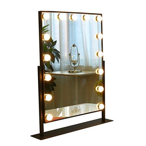 Mirrors Makeup Metal Smart Rectangular LED Bulb Desktop HD Makeup Tabletop (Size : 5365cm)