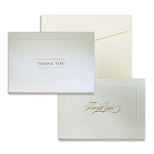 Gold Foil and Embossed White Sand Assortment Thank You Cards - Pack of 40 - 5