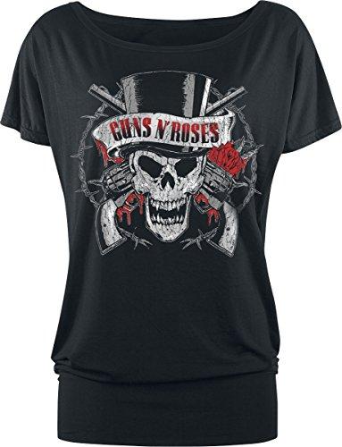 N' Nero Maglia Nero Roses Guns Skull Hat Top Donna dSdvq