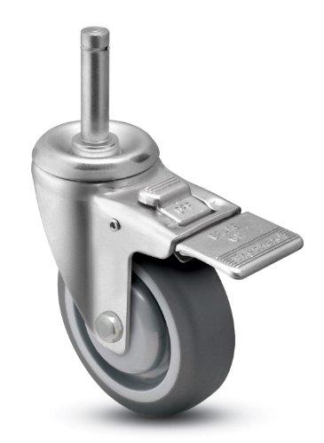 Shepherd-Institutional-Series-5-Diameter-Ball-Bearing-Urethane-Wheel-Total-Lock-Caster-716-Diameter-x-1-716-Length-Brass-Band-Grip-Ring-Stem-315-lbs-Capacity-Gray