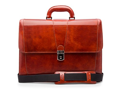 Bosca Men's Old Leather Collection - Double Gusset Briefcase Cognac Leather One Size ()